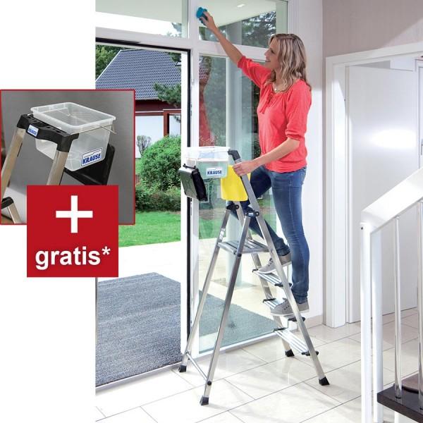 Krause Stufen-Stehleiter Secury mit MulitGrip + 8l Systemeimer gratis (AKTION)