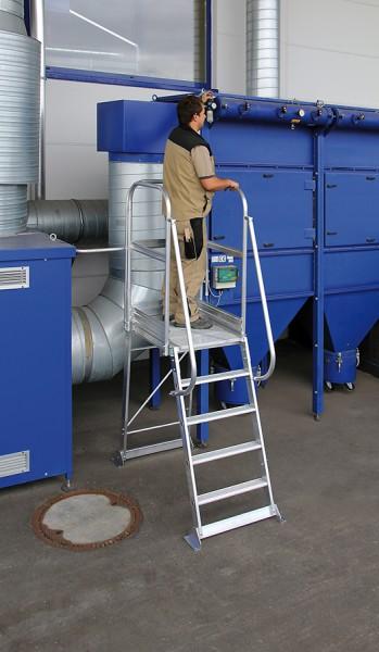 Günzburger Aluminium-Podesttreppe einseitig begehbar stationär