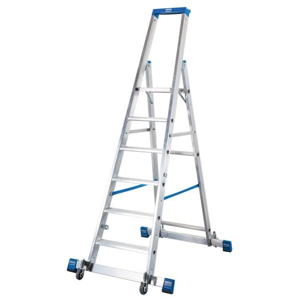 Krause STABILO Stufen-StehLeiter, fahrbar mit Traverse