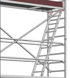 Stufeneinhängeleiter für Layher Uni Breit Fahrgerüst P2