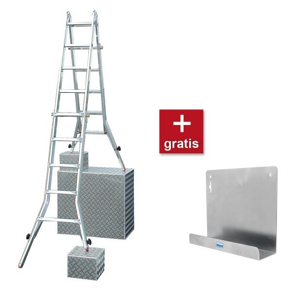 Krause TeleVario Sprossen-Gelenk-TeleskopLeiter mit 4 Holmverlängerungen AKTION