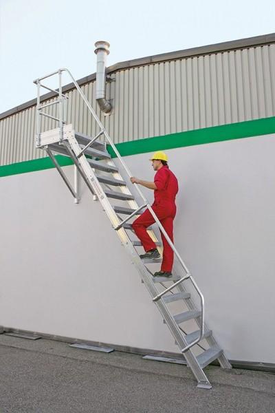 Günzburger Aluminium-Treppe mit Plattform 60°