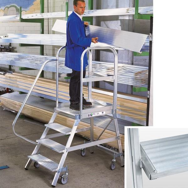 Günzburger Aluminium-Podestleiter einseitig begehbar