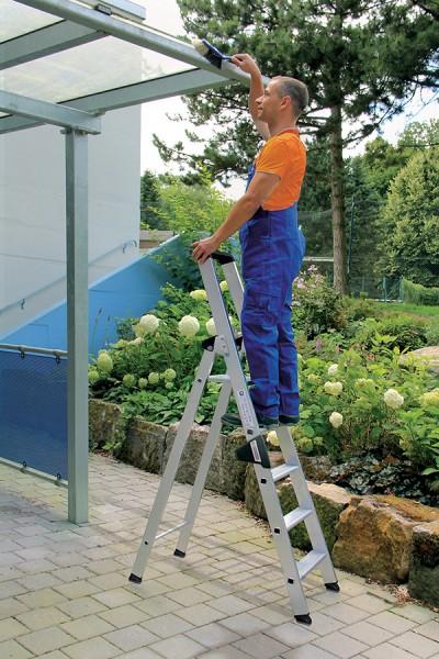 Günzburger Aluminium-Stufen-Stehleiter einseitig begehbar