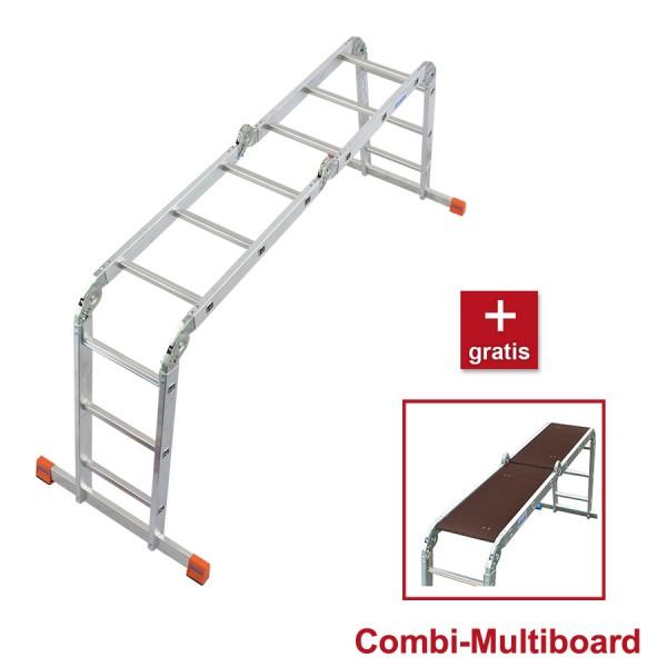 Krause MultiMatic Sprossen Gelenk-Universalleiter inkl. Combi Multiboard