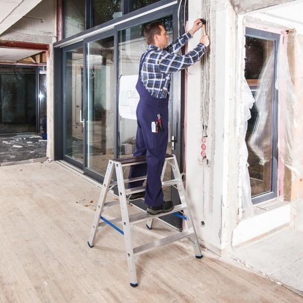 Krause STABILO Stufen-DoppelLeiter mit Holzauflage