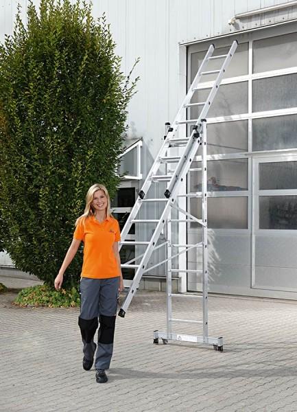 Günzburger Mehrzweckleiter 3-teilig mit rollbar-Traverse Test SEHR GUT