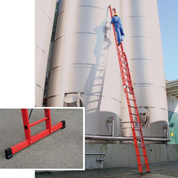 Günzburger Kunststoffleiter Schiebe-Seilzugleiter 2-teilig mit Standtraverse